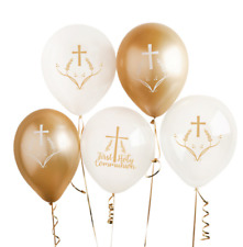 First Holy Communion Balloons Gold & White Pack of 5 Air Fill or Helium