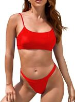 Womens Brazilian Thong Bikini High Cut Cheeky Swimsuit Push Up (Red,Size:XL)