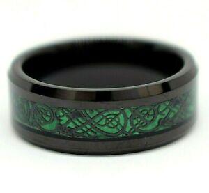 Black Men's Tungsten Carbide Wedding Ring Green Celtic Dragon Inlay Band 8 mm