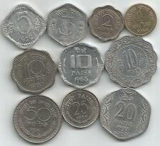 UNC/AUNC Set of 10 Indian Coins, 1,2,3,5,10,10,10,20,25 and 50 Paise