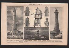 Lithografie 1902: Leuchttürme. Leucht-Turm in Eddystone Swinemünde