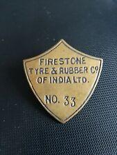 RARE UNIQUE Hat Badge Firestone Tyre & Rubber Of India Ltd