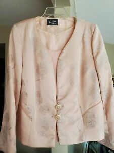 WOMEN'S Paula Picasso THREE PIECE  Baby Pink Silk Skirt Formal SUIT SIZE 50