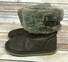 LANDS' END Girls' Brown Faux Fur Lined Winter Boots Size 2