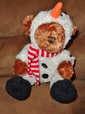 "Bear in Snowman costume 2007 Animal Adventure Christmas 8"" stuffed plush toy"