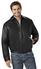 Men's Outdoor Spirit Leather Bomber Jacket Black 2XL #NKMLD-38
