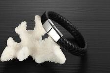 Mens Womens Stainless Steel Braided Black Leather Bangle Bracelet #B543