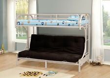 White Metal Twin Futon Bunk Bed Couch Kids Boys Girls Bedroom Furniture Daybed
