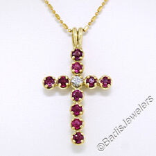 Solid 18K Yellow Gold 1.60ctw Prong Ruby Diamond Cross Pendant w/ 14K gold Chain