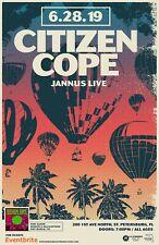 """CITIZEN COPE """"6.28.19 JANNUS LIVE"""" 2019 TAMPA CONCERT TOUR POSTER-Alt Rock, Soul"""