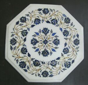 Lapis Lazuli Stone Inlaid Marble Side Table Top White Coffee Table Size 13 Inch
