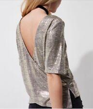 River Island Gold Metallic Foil Wrap Back T-Shirt Size 10