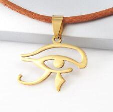 Gold Egypt Eye Of Horus Ra Udjat Egyptian Pendant Brown Leather Tribal Necklace