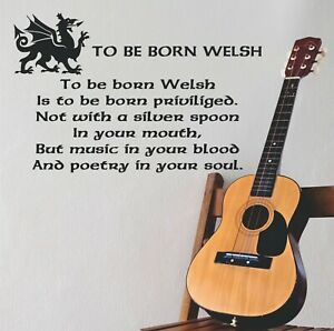 Welsh Quote Music In Blood Poetry Soul Dragon Celtic font used Wall Art Sticker