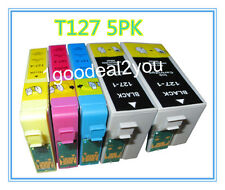5 Pack T127XL Ink cartridge For Epson Workforce 545 633 635 845 WF-3540 WF-7510