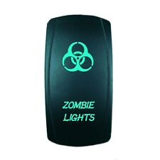 GREEN 2 POSITION ROCKER SWITCH LASER ETCHED 20A 12V LED ZOMBIE OFFROAD