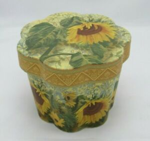 Punch Studio SUNFLOWERS DECORATIVE BOX Scalloped  Lidded from The Gifted Line