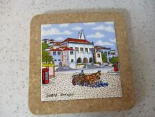 TILE TRIVET, WALL PLAQUE, SINTRA PORTUGAL, SINTRA NATIONAL PALACE, CORK SURROUND