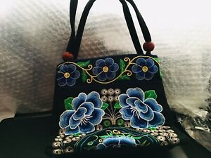 Embroidered Handbag With 2 Compartments