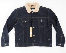 KSUBI Oh G Borg Denim Jacket Pure Blue Size M 100% Cotton Sherpa Lined RRP$329