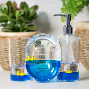 Floating Duck Bathroom Sink Accessories Set Lotion Dispenser Soap Dish Tumbler