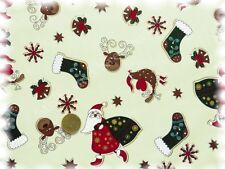 Weihnachtsmann und Co.Weihnachtsstoff ecru Baumwolle 50 cm