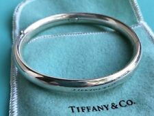 Tiffany & Co. Sterling Silver Oval Bangle Bracelet in Tiffany Pouch and Box