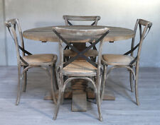 5 Piece Set Dining Table Round Recycled Elm Hardwood 120cm French Provincial