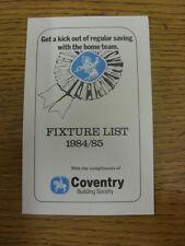 1984/1985 Fixture List: Coventry Building Society - Four Page Card Covering The