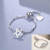 925 Sterling Silver Adjustable Chain Thumb/Index/Mid Ring Finger STAR/HEART