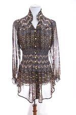 Cristina V Smocked Embellish Button Up Chiffon Shirt Tunic Top Blouse Women Sz M