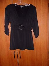 AB Studio Black Top Stretch Size S Small 3/4 Sleeves Bust 34  36 Length 26