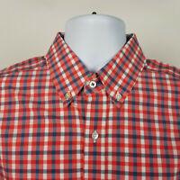 J. Mclaughlin Trim Fit Mens Red Blue Check Plaid Dress Button Shirt Size Medium
