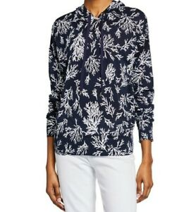 Michael Kors PAINTERLY REEF Hooded Blouse Top Sea Coral Print Large NWT Navy