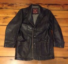 The Territory Ahead 3 Button Pocket Black Leather Biker Coat Jacket M 42""
