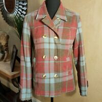 Fossil Brand - Red/Blue Women's Plaid Wool Blend Pea Coat Fall Jacket Size (M)
