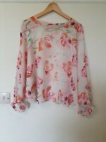 Topshop Chiffon Floral Batwing Blouse Top Size 10