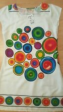 WOMEN DRESS DESIGUAL EVENING WHITE MULTI COLOR PRINT LINED LOGO NEW SIZE M/S