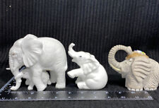 Lot Of 3 Elephant Statue Figurine Flowers In Upturned Trunk Porcelain & Stone