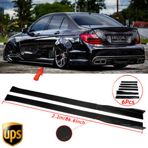 Carbon Fiber Look Side Skirt Extension For Mercedes Benz W205 W204 W212 Brbs AMG