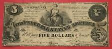 1861 $5 Confederate States America! Type 36 Rough! Old Us Paper Money Currency!