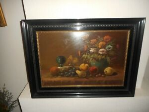 Old oil painting, ( Tilly Moes, 1899 - 1979 , Still life - Flowers with fruit }.