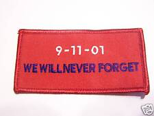 #0559 MOTORCYCLE VEST PATCH 9-11 WE WILL NEVER FORGET