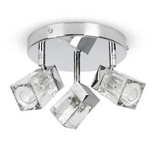 IP44 Modern Chrome Glass Ice Cube 3 Way Round Bathroom Ceiling Light Spotlight
