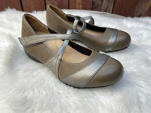 Ziera Xray Metallic Silver Mary Jane Orthotic Leather Comfort Shoes Size 40 W