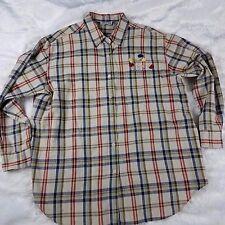 Lemon Grass Cotton Plaid Shirt 2X Square Buttons Embroidered Flowers Pocket