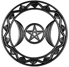 """Triple Moon Wooded-Painted Black-Wall Hanging-Decor-WICCA- 12""""D NEW {:-)"""