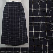 Navy Blue Plaid Pencil Straight Career Skirt Kick Pleat JH Collectibles size 4