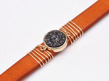 Natural Druzy Quartz Light Brown Leather Bracelet Cuff Wristband Bangle Unisex
