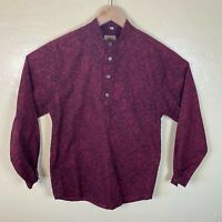 WAH Maker Frontier Shirt Western Mens Small Red Roses Floral Long Sleeve